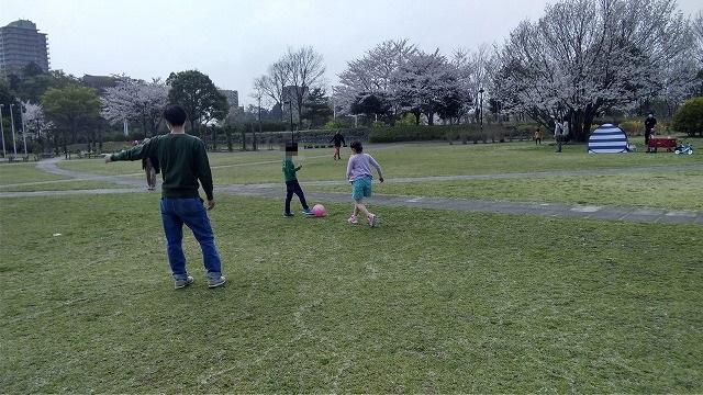 広い公園でボール遊び